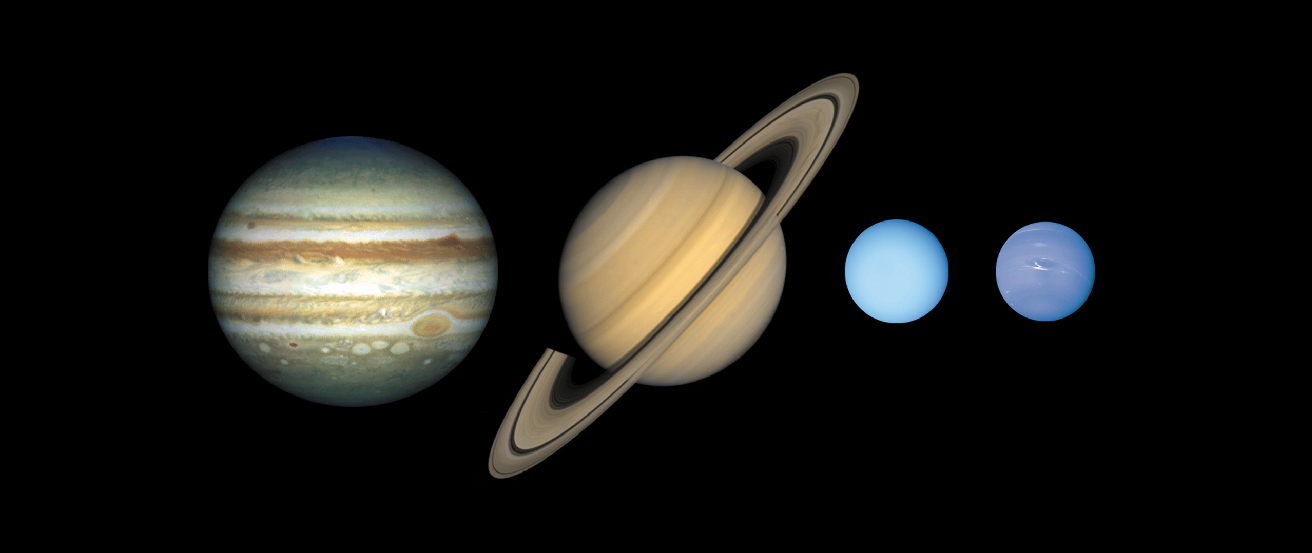 The Gas Giants. From left to right: cloudy Jupiter, ringed Saturn, light-blue Uranus and dark-blue Neptune.