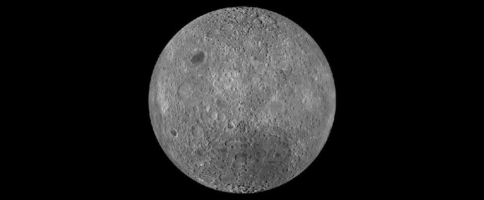 "Image of the Moon taken by the Lunar Reconnaissance Orbiter. This composite image shows the Lunar surface not seen from Earth. This region is so heavily cratered that most overlap. Only one small mare (Lunar ""sea"") is seen at upper left."