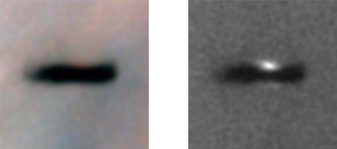 A figure of a protoplanetary disk in the Orion nebula. On the left is an image showing the disk edge-on, a dark narrow ellipse on a light background. On the right is an image with a light filter showing the disk edge-on, with a light half circle above and below the dark narrow ellipse on a grainy background.