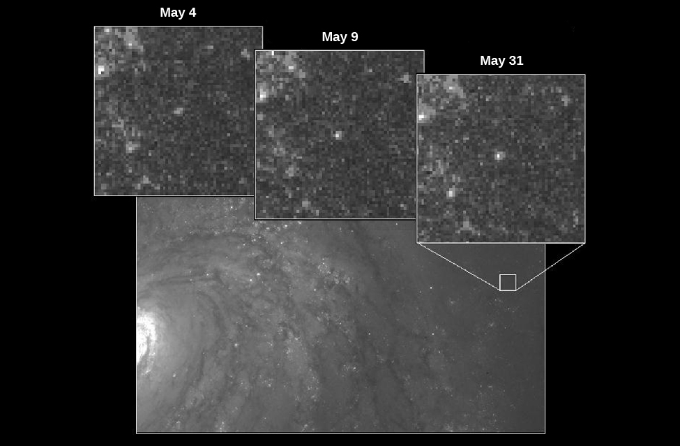 """Cepheid Variable Star in M100. In the background of this image is a portion of the galaxy M100. At center right is a small white box indicating the area that contains the variable star observed using the Hubble Space Telescope. Along the top of the image are three insets showing the star at three different times. From left: """"May 4"""", """"May 9"""" and """"May 31"""". The star is significantly brighter in the May 31 image."""