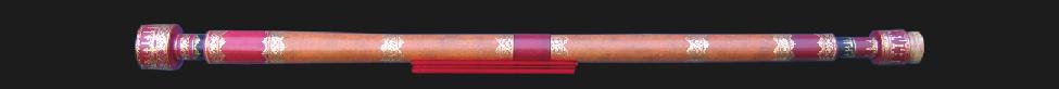 Photograph of Galileo's telescope showing its elegantly decorated tube.