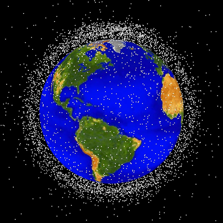 Satellites in Earth Orbit. The thousands of objects orbiting the Earth are represented as white dots surrounding the planet in this illustration. Most of the objects are in low Earth orbit, roughly between about 100 to 1000 miles.