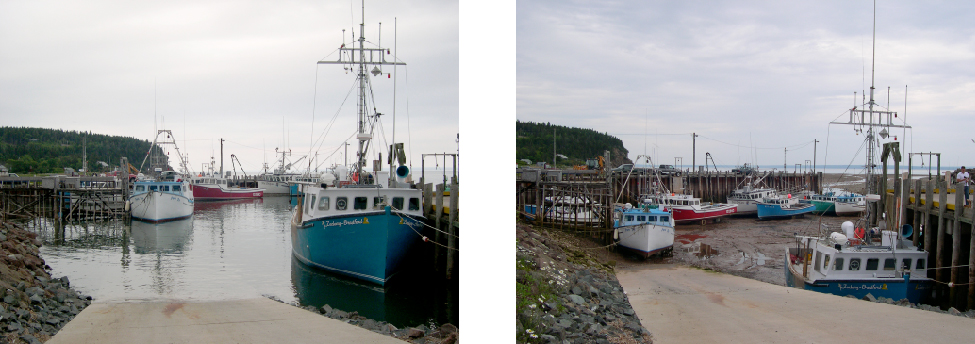 Photographs of High and Low Tides in the Bay of Fundy. At left high tide is shown, with the bay full of water. At right is low tide, no water is seen and the boats are all lying on the exposed ground.