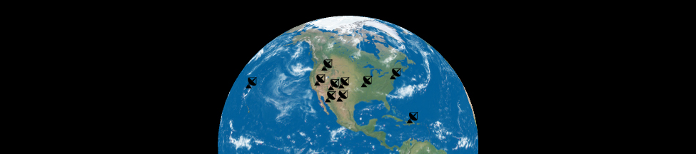 Diagram of the Very Long Baseline Array. The image shows the Northern Hemisphere of Earth centered on North America. Icons of radio antennas are shown distributed throughout the continental United States, as well as on Hawai'i and Puerto Rico.