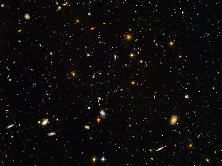 An image shows the stars and objects visible in the Ultra-Deep Field.