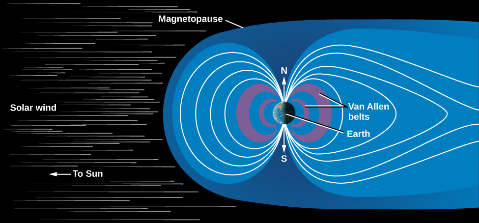 Illustration of the Earth's Magnetosphere. At left an arrow points leftward indicating the direction of the Sun. The Solar wind is drawn as numerous particles coming from the left. Slightly off-center to the right the Earth is shown, with an arrow for the north pole pointing upward, and one pointing down for the south pole. To the left and right of the Earth are two nested purple crescents with their points touching the poles of the Earth. These areas are labeled as the Van Allen belts. Outside the Van Allen belts the lines of the magnetic field are drawn in white. On the left side of the Earth (facing the Sun in this diagram), the lines originate at the north pole and curve out away from the surface then curve back to end at the south pole. Four of these curves are shown, each extending further out into space than the one proceeding it. On the right side of the Earth (facing away from the Sun), the magnetic field lines are also drawn, but have very different shapes than those on the left. The innermost line on the right looks very similar to the innermost line of the left. But each successive line moves further and further out into space before returning to the poles. Thus the magnetic field is much more elongated in shape on the side of the Earth facing away from the Sun.