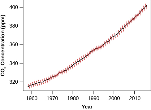 "Graph of the Increase of Atmospheric Carbon Dioxide over Time. The vertical axis at left is labeled ""CO2 Concentration (ppm)"", and goes from 320 at bottom to 400 at top in increments of 20. The horizontal axis is labeled ""Year"", and goes from 1960 at left to just beyond 2010 at right, in increments of 10. A nearly straight black line begins in 1960 at 320 ppm and rises inexorably to 400 ppm in 2010. Over-plotted on the black line is a jagged red line which connects the data points that lie above and below the averaged black line. The data points capture the seasonal variations that exist due to the loss of foliage in winter."