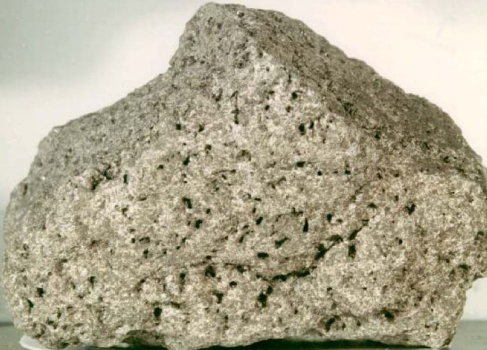 Photograph of a Lunar Rock. A sample of basaltic rock from the Lunar surface is shown, with the many holes left by gas bubbles giving the rock the appearance of a sponge.