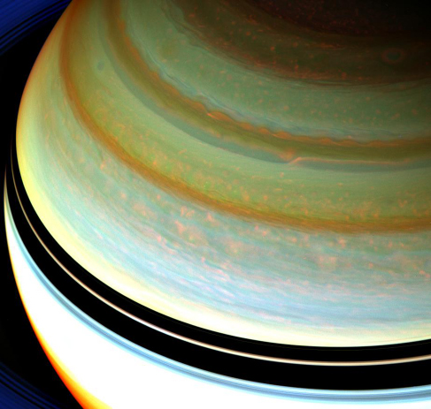 Cloud Bands on Saturn. In contrast to the cloud bands on Jupiter, Saturn's clouds appear smoother and less turbulent. Saturn's bands also have less color contrast between them, requiring image processing to fully reveal their structure.