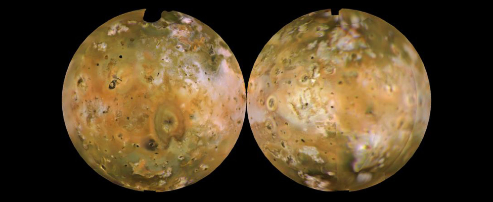 Two images of front and back comparison of the moon Io, showing that it is volcanically active.