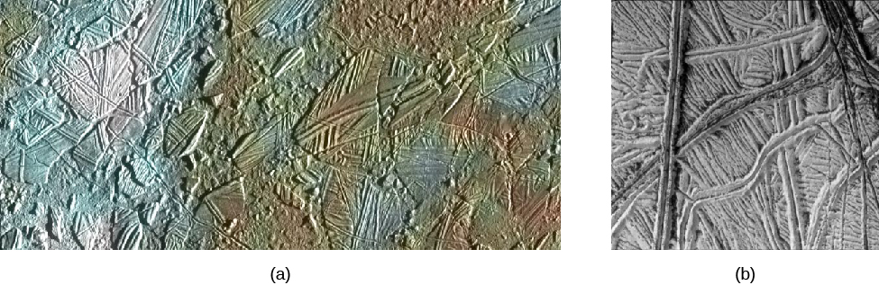Image A is a close-up on the Conomara Chaos area on Europa showing an area of 70 km of icy crust. Image B is a high resolution view of the ice, which is wrinkled with ridges.