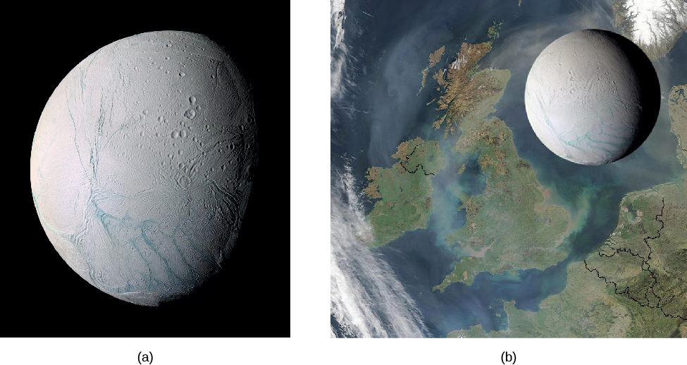 Image A is a global view of Enceladus. Image B is a global view of Enceladus above a map of Great Britain, demonstrating it's width of 500 km.