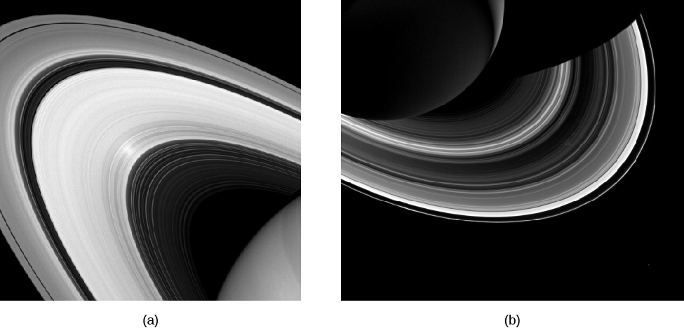 Image A is a view of a portion of Saturn's Rings from above. Image B is a view of a portion of Saturn's Rings from below.