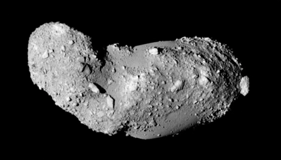 Asteroid Itokawa. This elongated asteroid has no craters and appears to be covered with loose piles of rock.