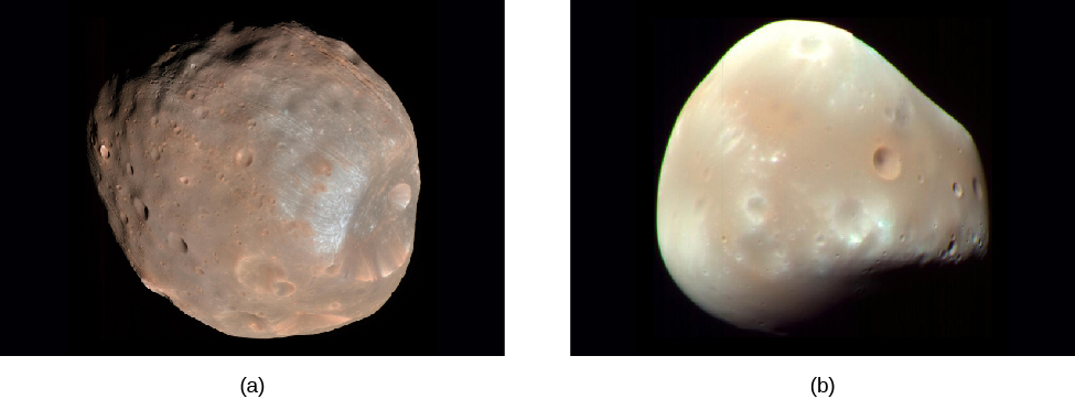 "Images of Phobos and Deimos. Panel (a), at left, shows Phobos, a brownish, ""lumpy"" body with many impact craters. Panel (b), at right, shows the lighter colored Deimos. Deimos is much less spherical than Phobos, and has fewer craters."