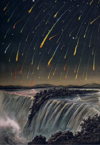 A painting of a meteor shower. Thousands of small meteors fall with visible light trails over a waterfall.