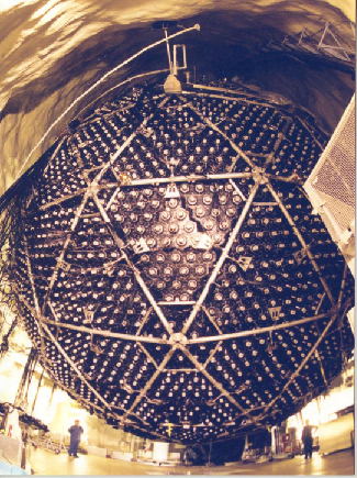 Photograph of the Sudbury Neutrino Detector. The 12-meter diameter sphere is shown with the interconnected triangular support structures, as well as the matrix of photodetectors covering its surface.