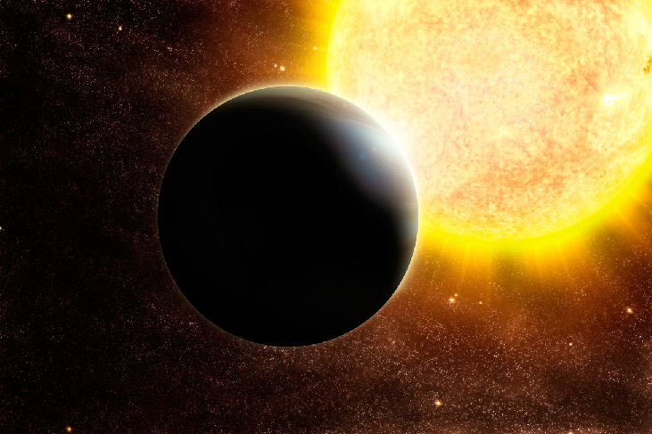 Hot Jupiter. An artist's impression of a hot Jupiter-type planet on the right and in the foreground, and a large bright sun to the left and in the background.