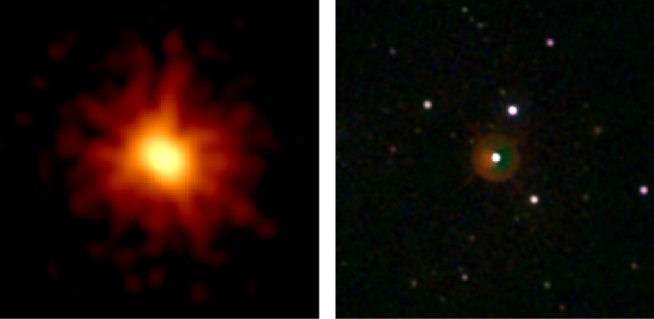 Gamma Ray Burst observed in March 2008. The image at left shows GRB 080319B in X-rays as an elongated, bright core with faint streams of light projecting outward from the center. The image at right shows the same object in visible light, now appearing as a faint red circular glow surrounding a star near the center of the image.