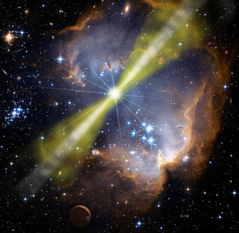 """Illustration of Light Beams. A """"beaming"""" star is drawn in yellow at the center of a circular cloud of luminous gas. Two beams, also drawn in yellow, emanate from opposite sides of the star, one pointing toward upper right and the other toward lower left."""