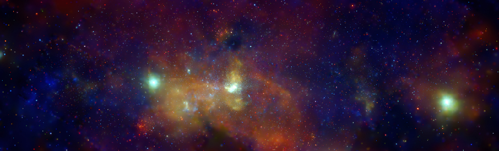 Galactic Center in X-rays. The galactic center is seen in this image as an irregular white source at center, surrounded by clouds of hot gas. Bright supernova remnants are seen to the left of center and at far right as blue-green blobs. The colors in this false-color image indicate X-ray energy bands: red (low energy), green (medium energy), and blue (high energy).