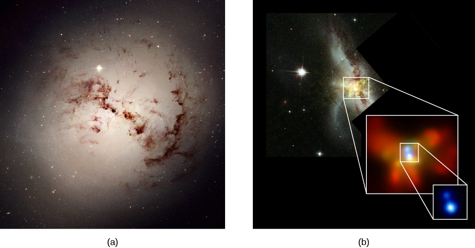 Galactic Cannibalism. Panel a, at left, shows the eerie silhouette of dark dust clouds against the glowing nucleus of the elliptical galaxy NGC 1316. Panel b, at right, shows the highly disturbed galaxy NGC 6240, imaged by HST (background image) and the Chandra X-ray Telescope (both insets). NGC 6240 is apparently the product of a merger between two gas-rich spiral galaxies. The X-ray images show that there is not one but two nuclei, both glowing brightly in X-rays.