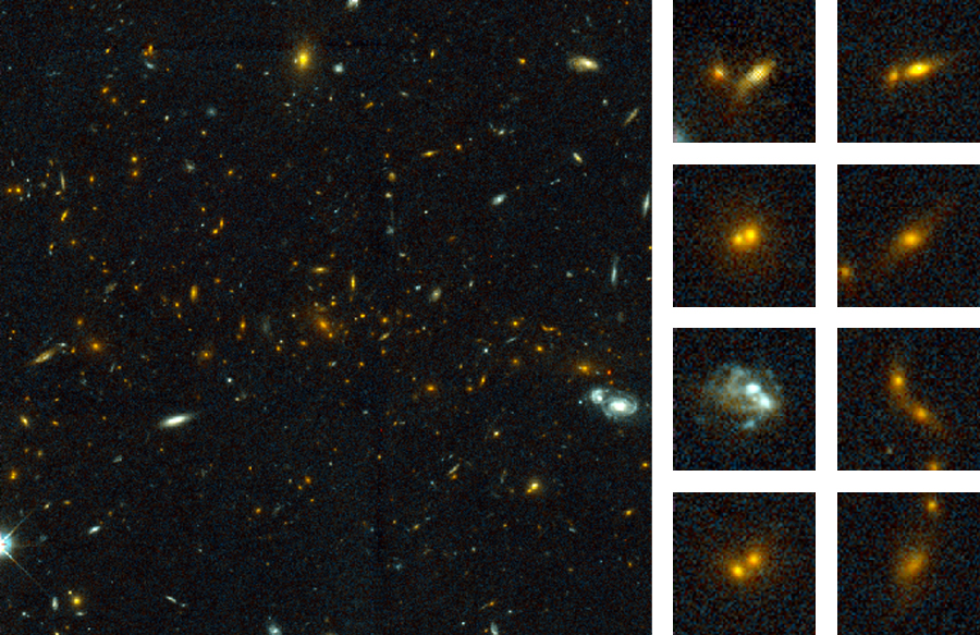 Collisions of Galaxies in a Distant Cluster. The large panel at left is an HST image of a cluster of galaxies at a distance of about 8 billion light-years. The eight smaller panels at right show close-ups of some of the colliding galaxies in this cluster of galaxies.