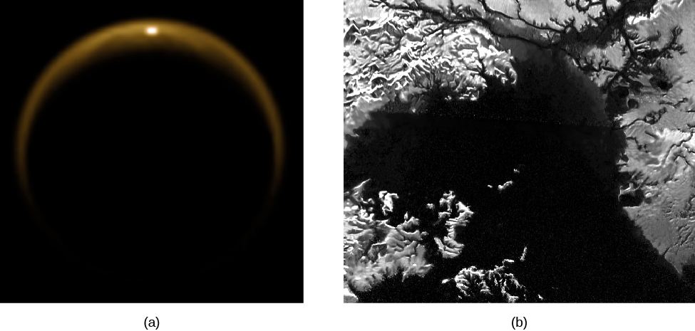 Image of Saturn's Moon Titan from NASA's Cassini Mission. In panel (a), at left, Titan appears as a hazy crescent in this backlit view from Cassini. Panel (b), at right, presents a radar image of the surface of Titan. It appears very much like an aerial view of a lake on Earth, with rugged shorelines, islands and river channels leading into the lake.