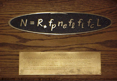 Photograph of a plaque commemorating the origins of the Drake equation.